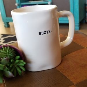 "Magenta (RAE DUNN) ""Begin"" 16oz Coffee Mug"